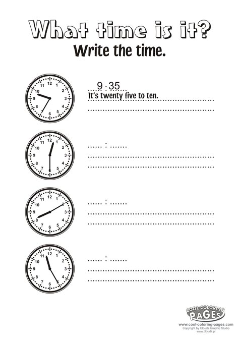 What time is it exercises - Simple coloring pages for toddlers